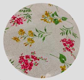 Tafelzeil rond - Bloemenprint geel/roze