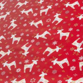 Tafelzeil  kerst - Xmas deer red