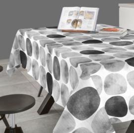 Gecoat tafellinnen/tafelkleed - Arapoff piedra zwart/grijs