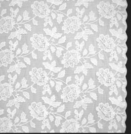 Tafelloper kant - Bloemenprint wit