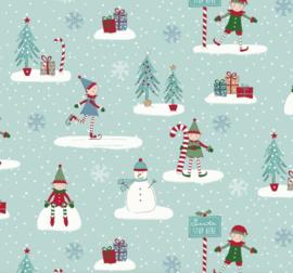 Geplastificeerd katoen - Christmas elfs