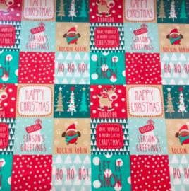 Geplastificeerd katoen - Kerst design HO HO HO