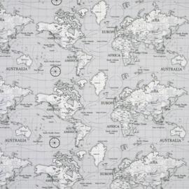 Geplastificeerd katoen - Wereldkaart grijs
