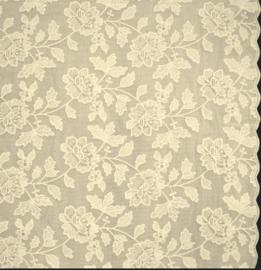 Tafelloper kant - Bloemenprint beige