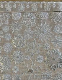 Tafelloper kerst - Sneeuwvlok zilver