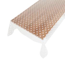 Tafelzeil - transparant met witte nop