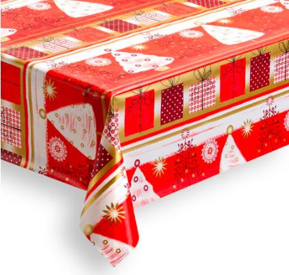Tafelzeil kerst - Kerstboom merry Christmas rood-goud