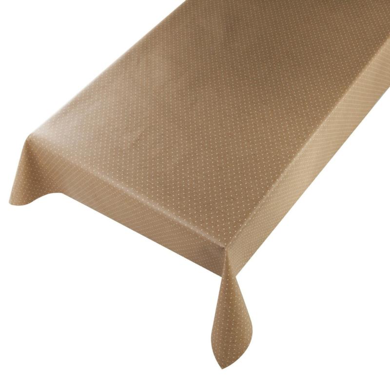 Gecoat tafellinnen/tafelkleed - Jacquard diamond sand