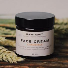 RAW ROOTs - Ambachtelijk gemaakte biologische gezichtscreme Kamille - 60 ml