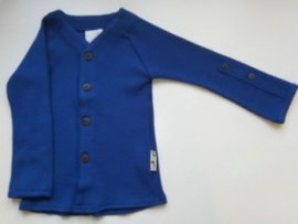 Manymonths - Cardigan in merinowol, aanpasbare mouwen, meegroei maat - Jewel Blue
