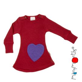 Manymonths - Jurk  Longsleeve dress Heart - meegroei 3 tem 18 maanden (Charm Expl), Raspberry Red