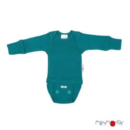 Manymonths - Body shirt en longsleeve in één, merinowol, meegroei maat - Ocean Wave