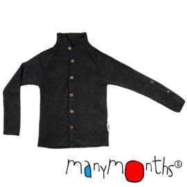 Manymonths - Unique Cardigan in merinowol, met aanpasbare mouwen, meegroei maat  - Foggy Black