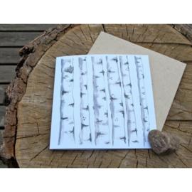 Anneko Design - Wenskaart met zaailint - Berkenbomen