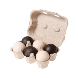 Grimm's - Houten ballen monochroom zwart wit, 6 stuks - 93120
