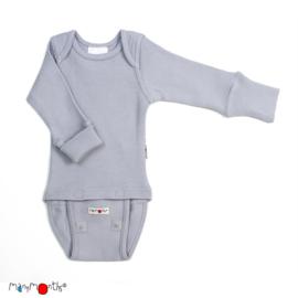 Manymonths - Body shirt en longsleeve in één, merinowol, meegroei maat - Bright Silver