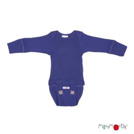 Manymonths - Body shirt en longsleeve in één, merinowol, meegroei maat - Jewel Blue