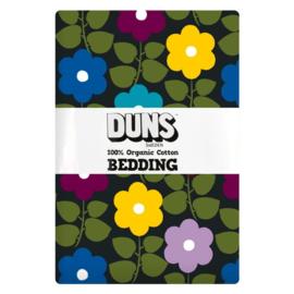 Duns - Dekbedovertrek en 1 kussensloop in geweven biokatoen - Flowers Charcoal - 150 x 200 cm