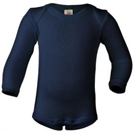 Engel Natur - Body romper lange mouw wol zijde - Navy donkerblauw