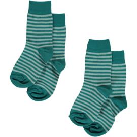 Maxomorra - Sokken in biokatoen - Blauw Lichtblauw, Twee paar