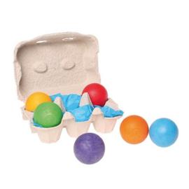 Grimm's - 6 Houten ballen regenboogkleuren - 10239