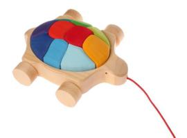 Grimm's - Regenboog schildpad trekspeelgoed met blokken - 09011