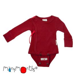 Kimono body en shirt in één! Merinowol, meegroeimaat 0 tem 4 maanden - Raspberry Red