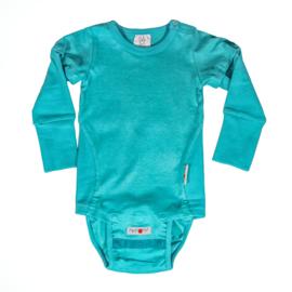 Manymonths - Body short / longsleeve met verwijderbare mouwen en onderstuk, hennep en biokatoen, meegroei maten - Turquoise