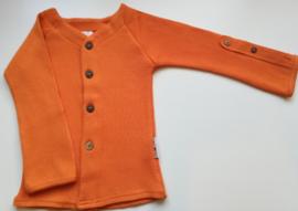 Manymonths - Cardigan in merinowol, aanpasbare mouwen, meegroei maat  - Festive Orange