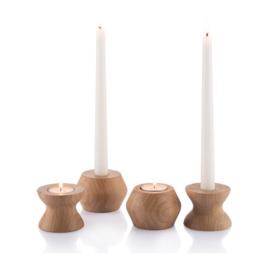 Bambu - Omkeerbare houder voor theelichtjes en kaarsen in bamboe