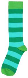 Duns - Kniekousen - Pepergroen turquoise gestreept, groene tip