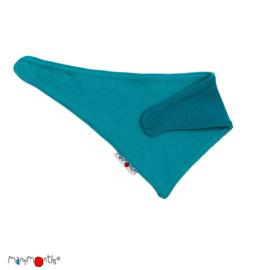 Manymonths - Bandana sjaaltje in wol - Omkeerbaar Royal Turquoise / Blue Turquoise