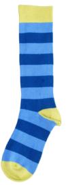 Duns - Kniekousen Blauw donkerblauw gestreept, groene tip, maat  21/24, 25/28, 33/36, 37/40