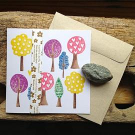 Anneko Design - Wenskaart met zaailint - Gekleurde bomen