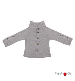 Manymonths - Unique Cardigan in merinowol, met aanpasbare mouwen, meegroei maat  - Silver Cloud