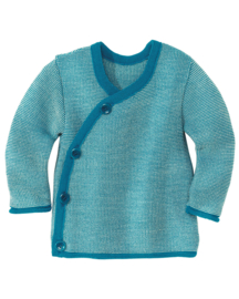 Disana - Wikkel trui in merinowol  - Blauw / Natuur melange