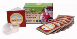 Natural Earth Paint - Kit met 6 kleuren (3 liter) en 6 mengbakjes met deksel = Multi inzetbare schilderverf: op papier, steen, hout, glas, aquarell, vingerverf, enz ...
