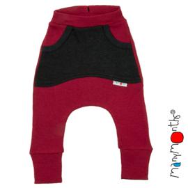 Manymonths - Kangaroo Pants met grote zak - meegroei 1 tem 2,5 jaar - Raspberry Red