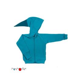 Manymonths - Point Hooded Zip Cardigan in merinowol, meegroei maat  - Royal Turquoise