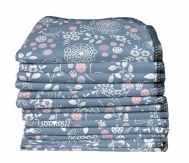 Imse Vimse - Wasbare doekjes bio katoen flanel 22x22 cm - 12 stuks - Verschillende prints (Blauw of Bloemen)