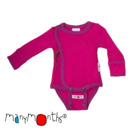 Manymonths - Kimono body / shirt merinowol, meegroeimaat 0 tem 4 maanden - Lilac Rose