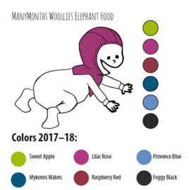 Manymonths - Elephant Hood Bivakmuts in merino wol = muts en sjaal in één - Meegroei maat 0 tem 3 a 4 maanden, verschillende kleuren