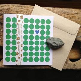 Anneko Design - Wenskaart met zaailint - Rondjes groen met 1 hartje