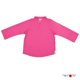 Manymonths - Mandarin Collar Shirt Longsleeve en T-shirt in één - Berry
