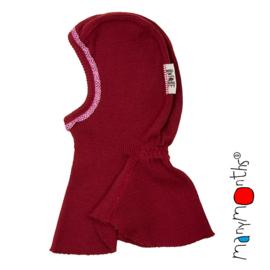 Manymonths - Elephant Hood bivakmuts in merino wol, afgewerkt met kant, meegroei maat - Raspberry Red