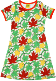 Duns -Jurk met korte mouwen - Maple Leaves - 92, 98, 104, 110, 116, 134, 140, 146, 152