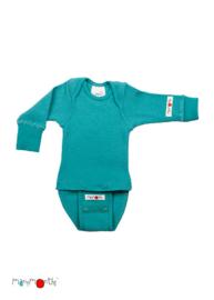 Manymonths - Body shirt en longsleeve in één, merinowol, meegroei maat - Royal Turquoise