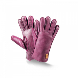 Fellhof - Vingerhandschoenen in schapenvacht en leder - Violet