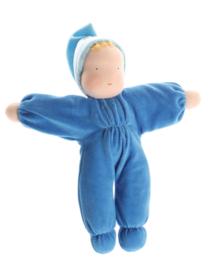 Grimm's - Zachte pop bio katoen, gevuld met wol, blauw - 22560 - 30 cm
