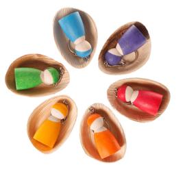 Grimm's - Houten popje aan sleutelhanger, Verschillende kleuren - 6052